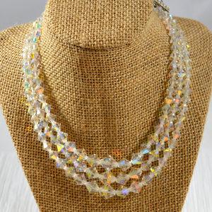 Vintage Aurora Borealis Crystal Necklace
